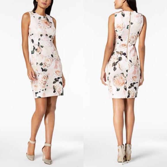 89542e999b CALVIN KLEIN SCUBA FLORAL DRESS